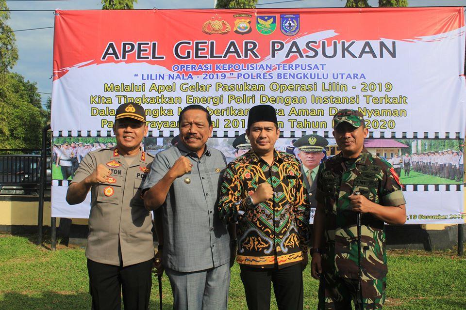 Apel Gelar Pasukan Lilin Nala Polres Bengkulu Utara, Bupati Harapkan Kolaborasi Seluruh Satker