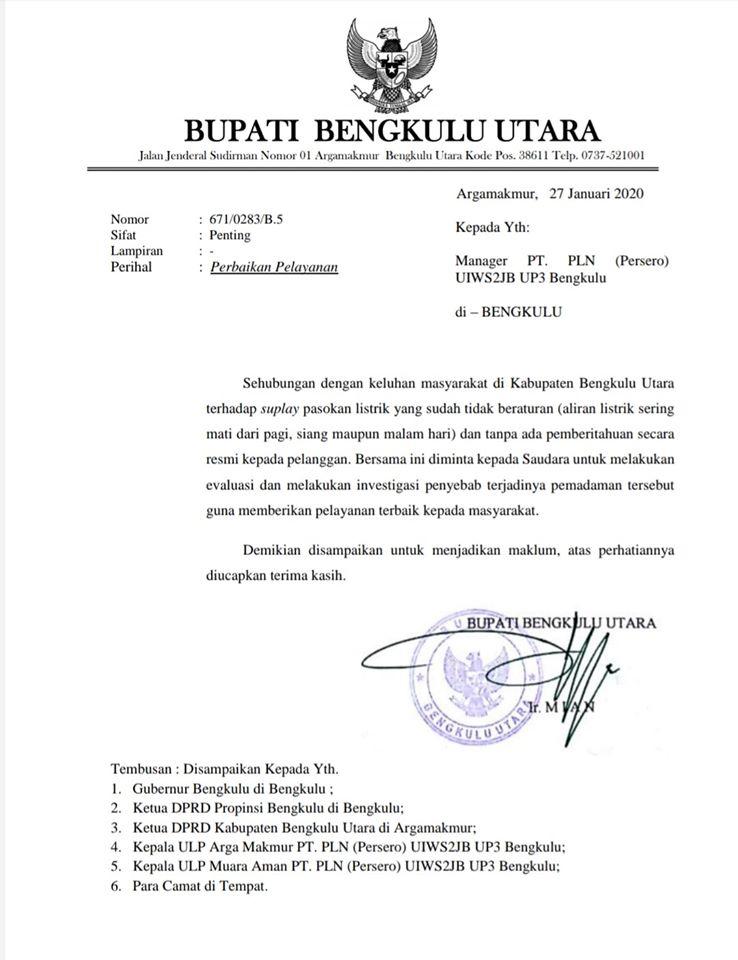 Tanggapi Keluhan Masyarakat, Bupati Bengkulu Utara Minta PLN UP3 Bengkulu Lakukan Investigasi Penyebab Terjadinya Pemadaman