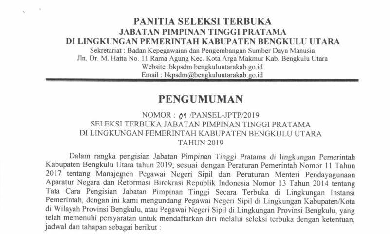 SELEKSI TERBUKA JABATAN PIMPINAN TINGGI PRATAMA DI LINGKUNGAN PEMERINTAH KABUPATEN BENGKULU UTARA TAHUN 2019