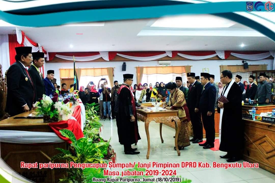 Pimpinan DPRD Bengkulu Utara Masa Jabatan 2019-2024, Dilantik