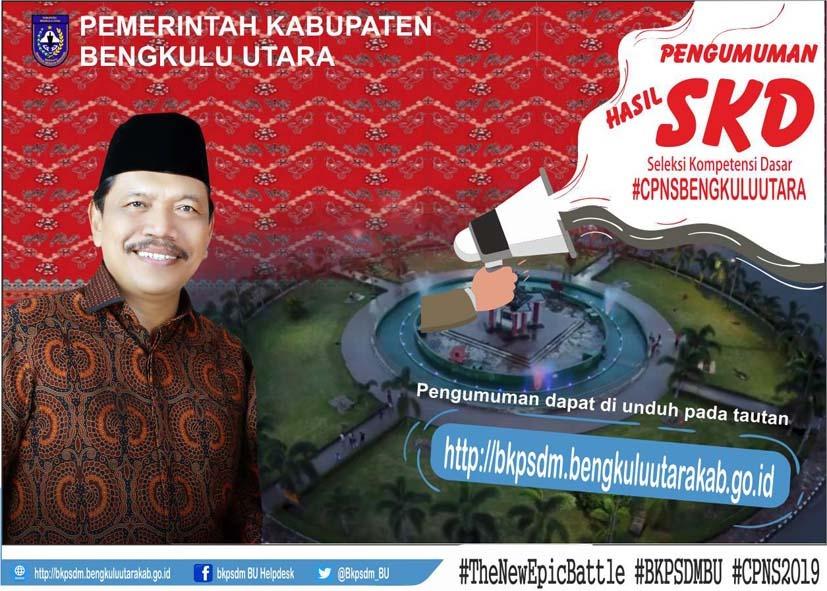 Pengumuman Hasil SKD Seleksi CPNS Kabupaten Bengkulu Utara Formasi Tahun 2019