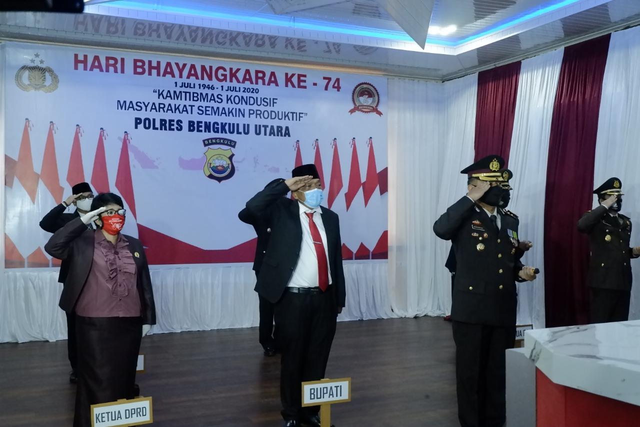 Bupati Bengkulu Utara Hadiri Upacara Virtual Peringatan HUT Bhayangkara ke-74