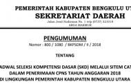 Jadwal Seleksi Kompentensi Dasar (SKD) CPNS Kabupaten Bengkulu Utara Tahun 2018